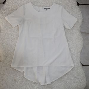 NY Collection Hi-Low White Blouse